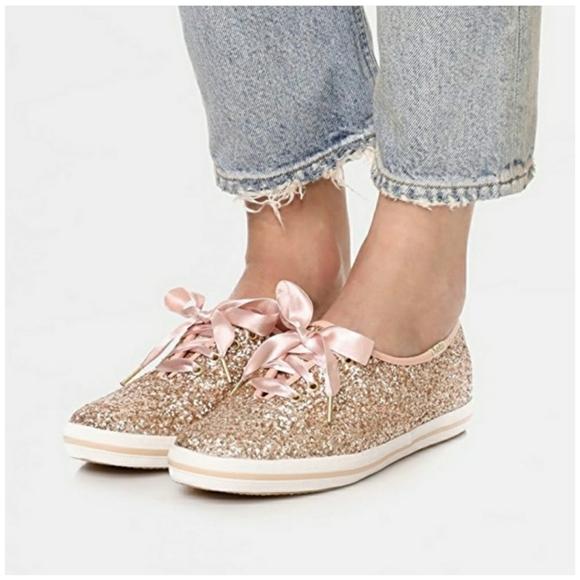 X Kate Spade Rose Gold Glitter Sneakers